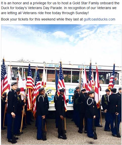 Gulf Coast Ducks - Veteran's Ride For Free Thru Sunday!