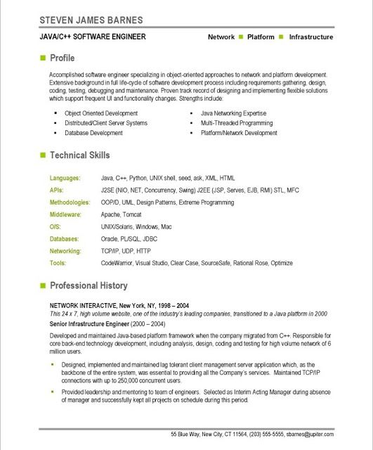 Software Engineering Resume Software Engineer Resume Format Software