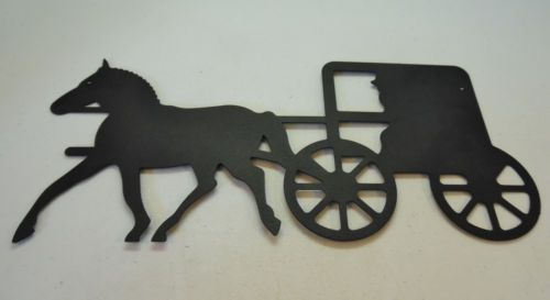 Amish Buggy and Horse Black Metal Wall Decor Carriage | Black ...