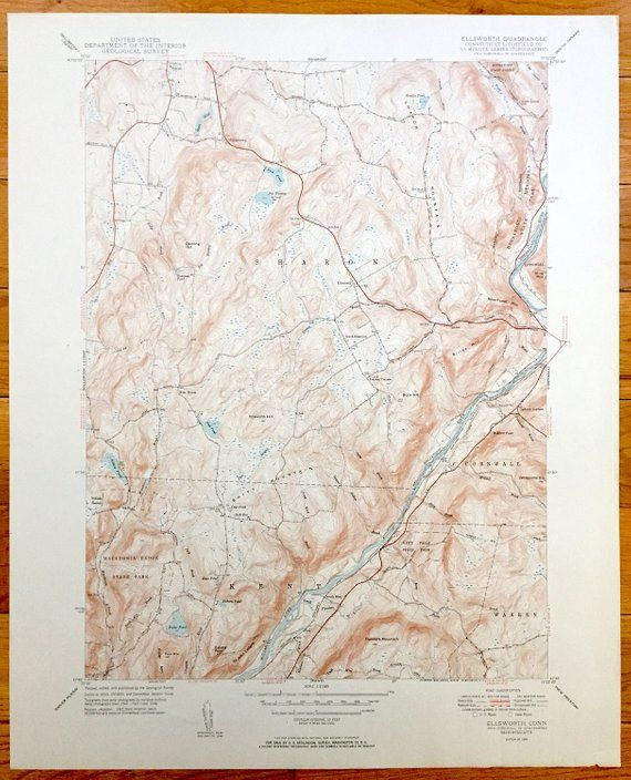 Antique Ellsworth, Connecticut 1950 US Geological Survey ...