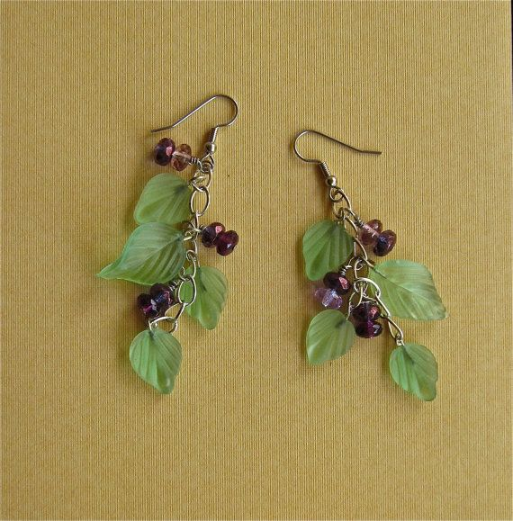 Handmade earring dangles of crystal and glass by mehtahdesigns, $25.00