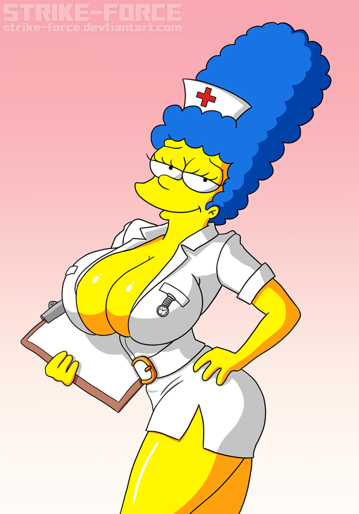 ... taking care of Springfield's sick and wounded to ensure a speedy  recovery! ^^  6/22 Edit: Cropped. .... Marge Simpson © Matt Groening,  Fox Fan art.