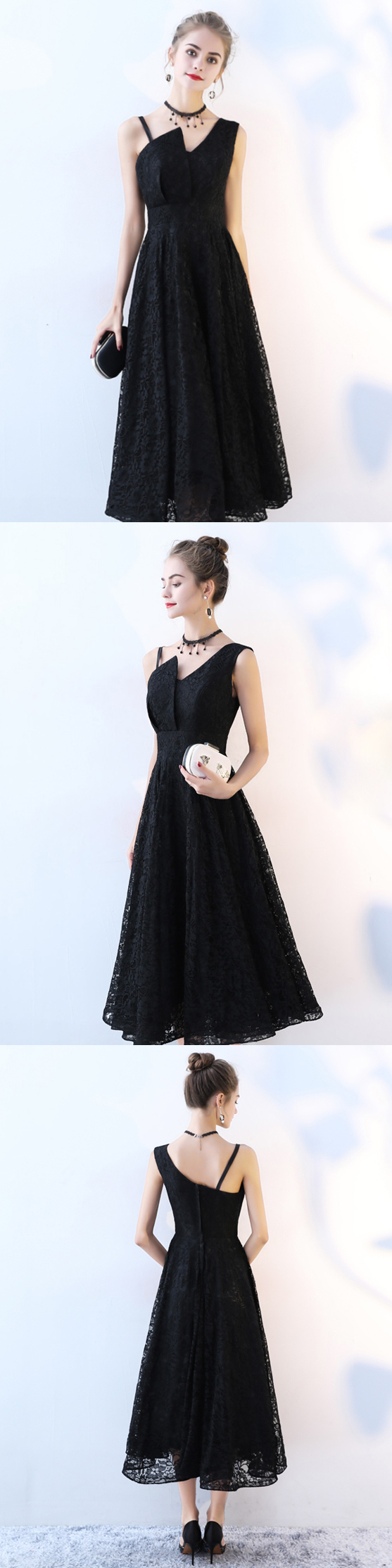 Black prom dress aline straps tealength lace cheap simple prom