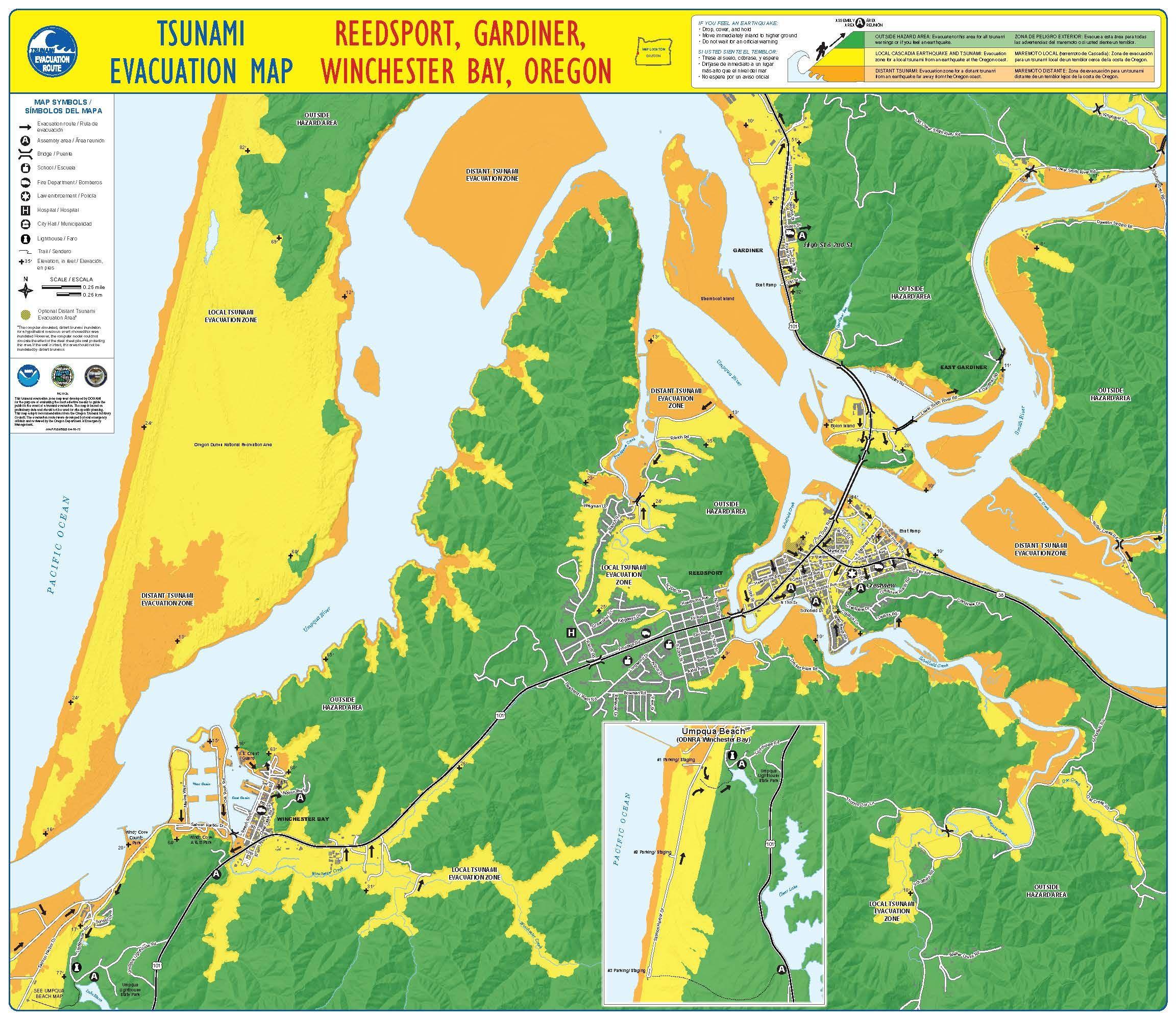 Tsunami evacuation map Reedsport Gardiner Winchester Bay