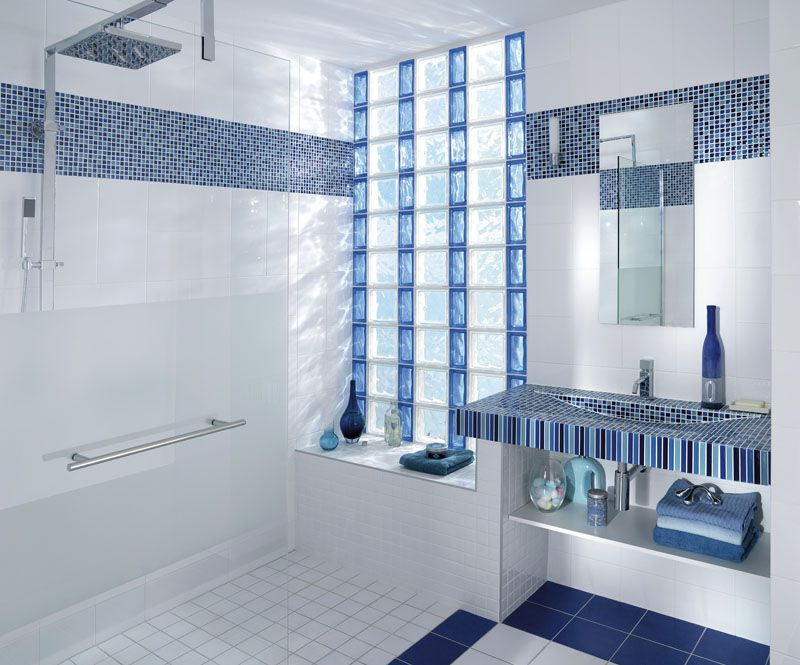 Pin by GlassBlockSupply on Adding Color Bathroom, Glass block