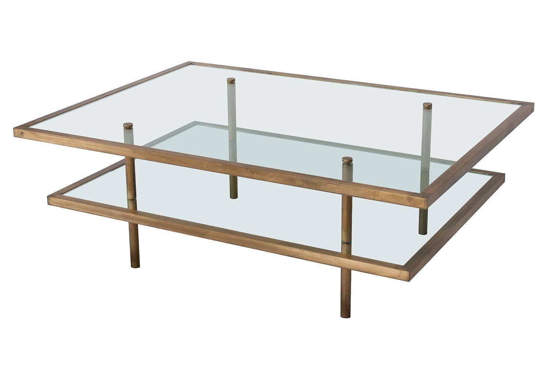 Square Brass And Glass Multilevel Coffee Table Johnsalibello Coffee Table Decor Furniture [ 1080 x 1080 Pixel ]