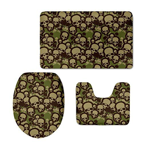 HUGSIDEA Cool Camo Skull Print Bathroom Rug Set Contour Mat Lid Toilet  Cover Bath Mat 3