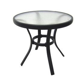How Much Does Outdoor Side Table Black Steel Small Round Tempered Glass Top  Patio Yard Or Porch End Table Cost?