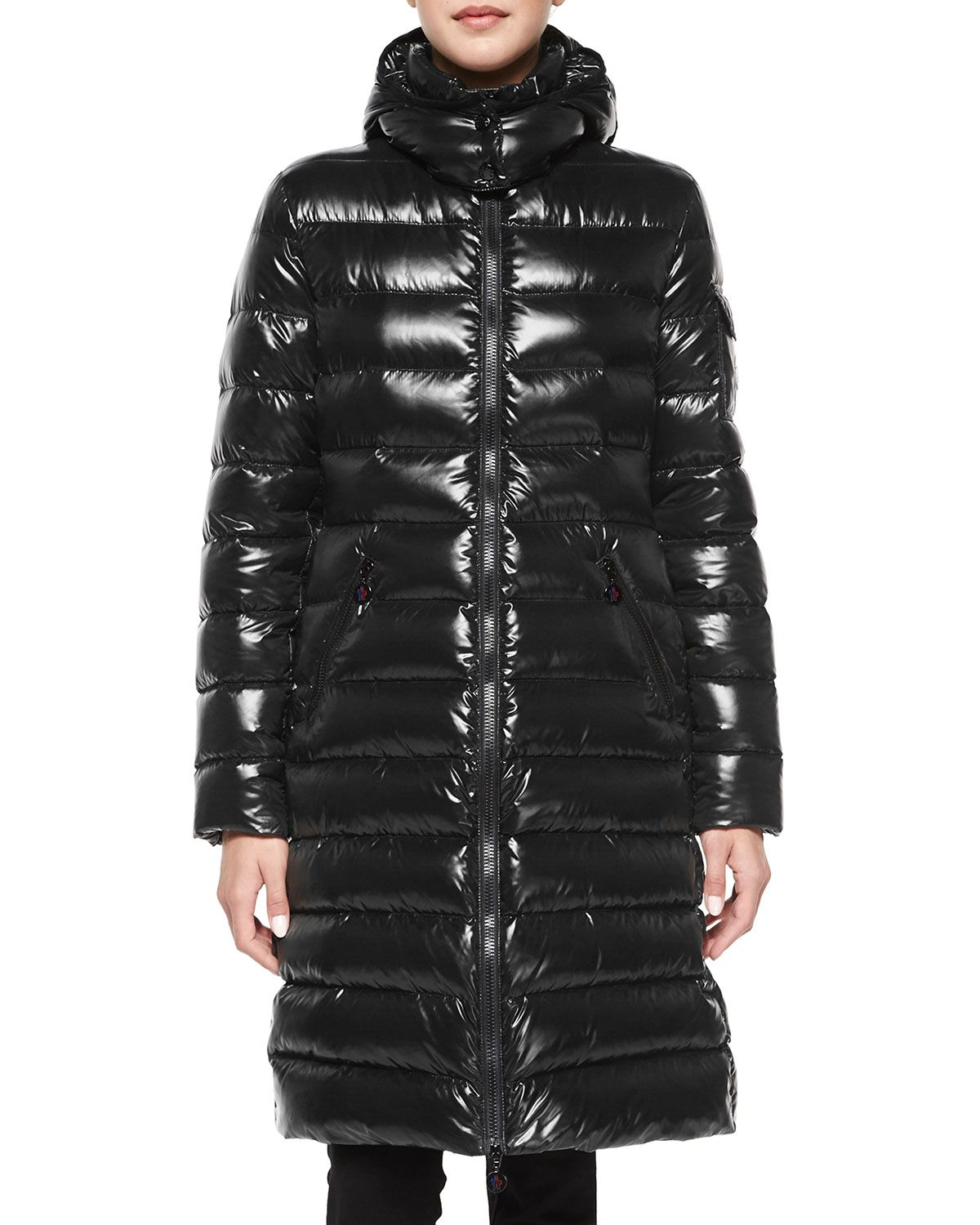 Moncler Moka Shiny Fitted Puffer Coat with Hood Puffer