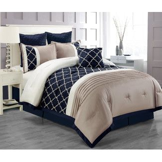 Comforter Sets Size King Color Blue Gray Silver Ivory