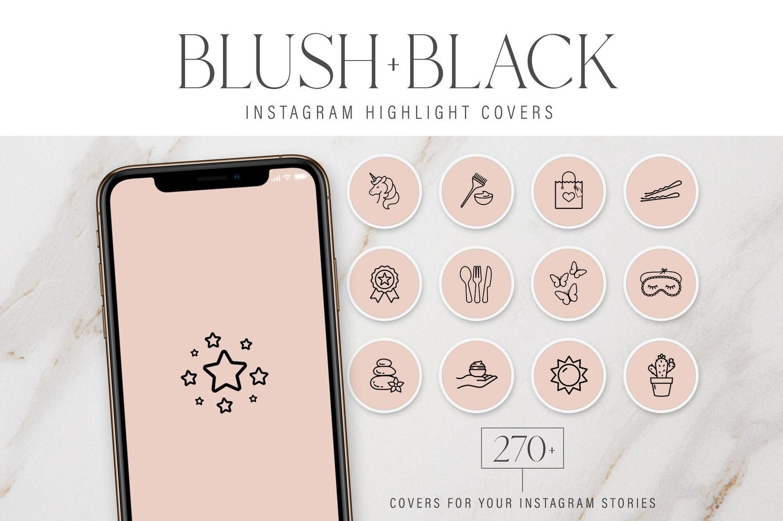 270 Instagram Highlight Cover Images Modern Blush & Black