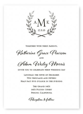The Laurel Wedding Invitation From The American Wedding Save 175