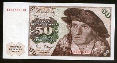 Germany banknotes 50 Deutsche Mark banknote of 1980, Hans