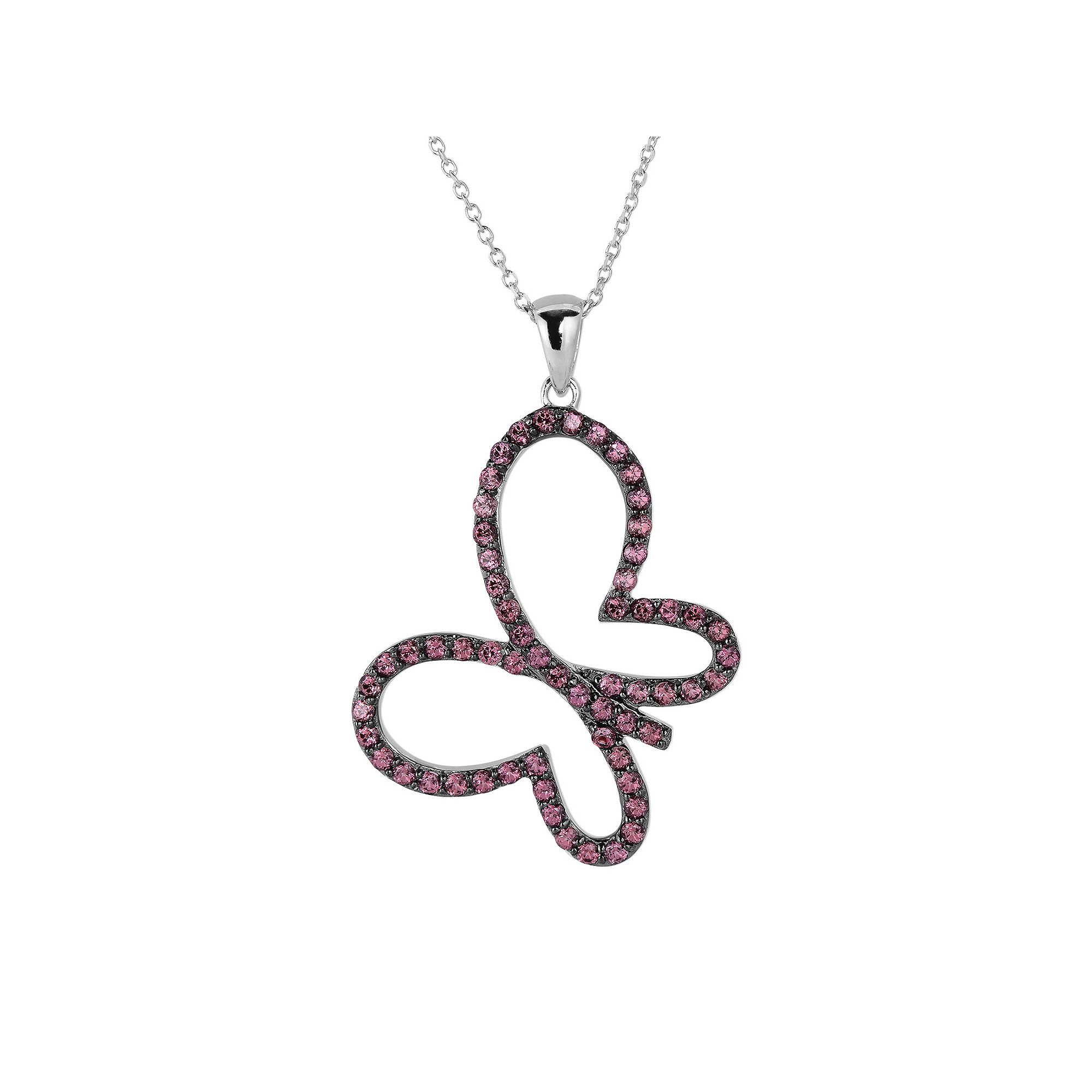 gold tw garnet in rose with diamonds pendant necklace rhodolite