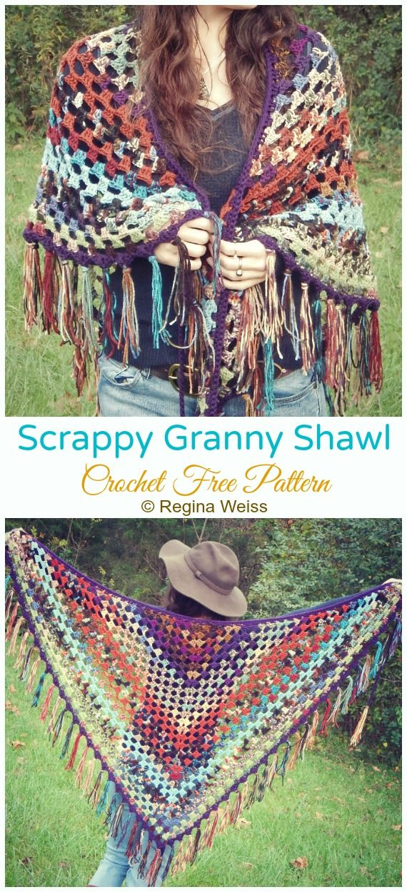 Scrappy Granny Lace Shawl Crochet Free Pattern - Crochet & Knitting