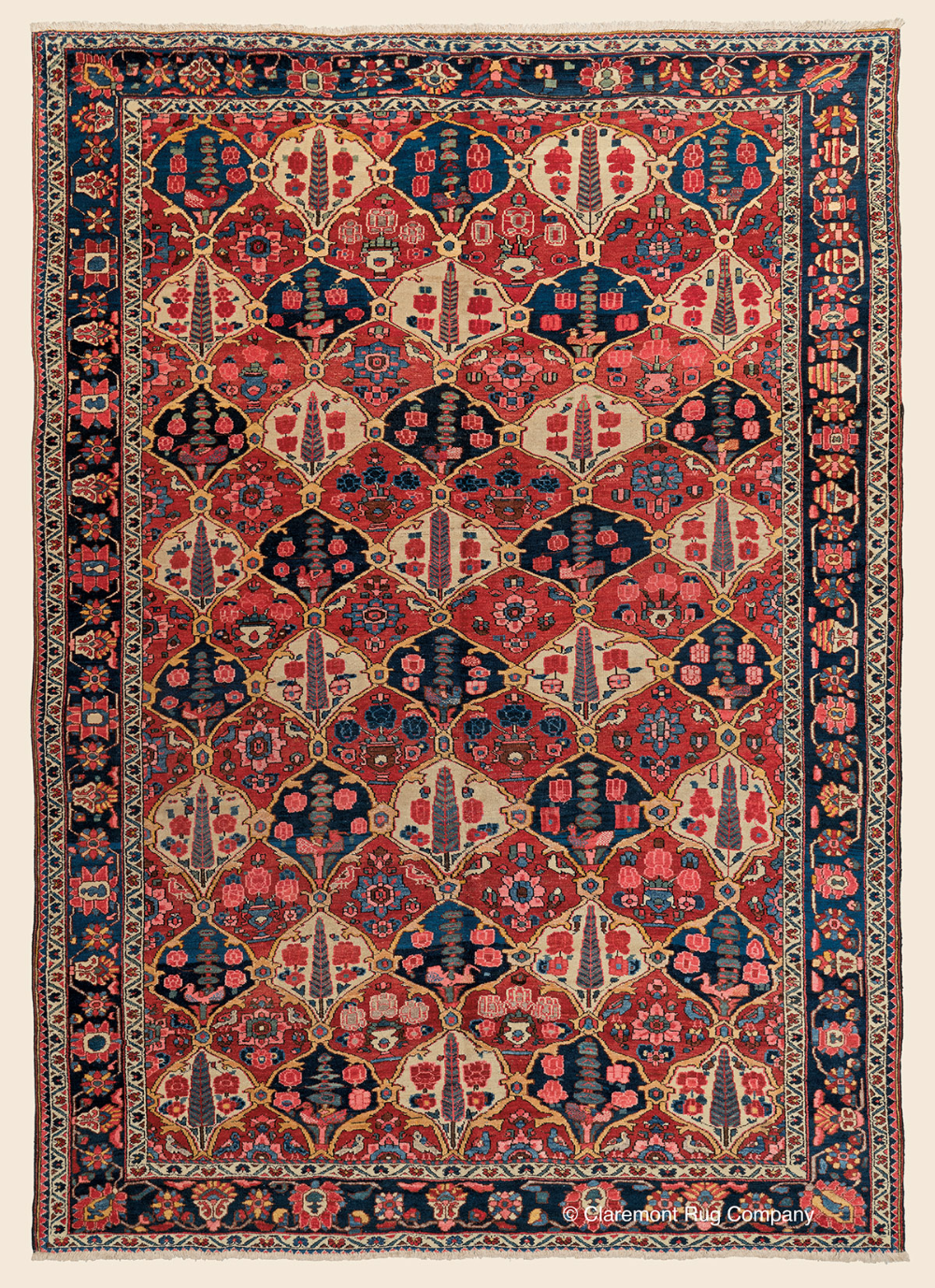 Antique Central Persian Bakhtiari Garden Compartment Room Size Rug