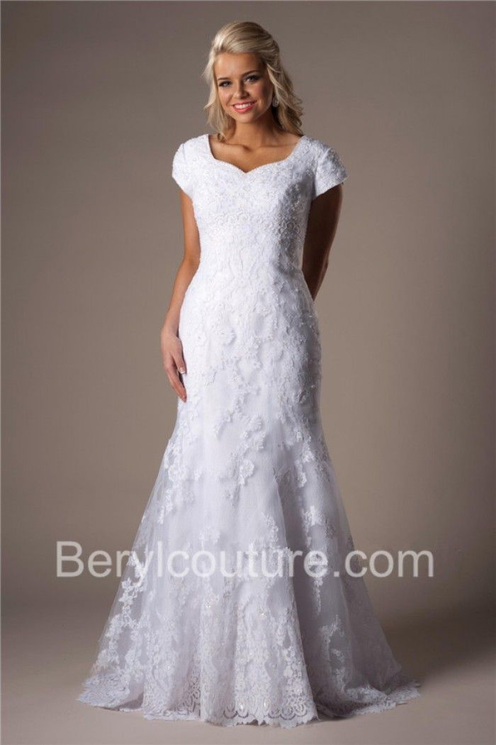ea8936b7b941 Modest Fitted Mermaid Sweetheart Neckline Short Sleeves Lace Wedding Dress