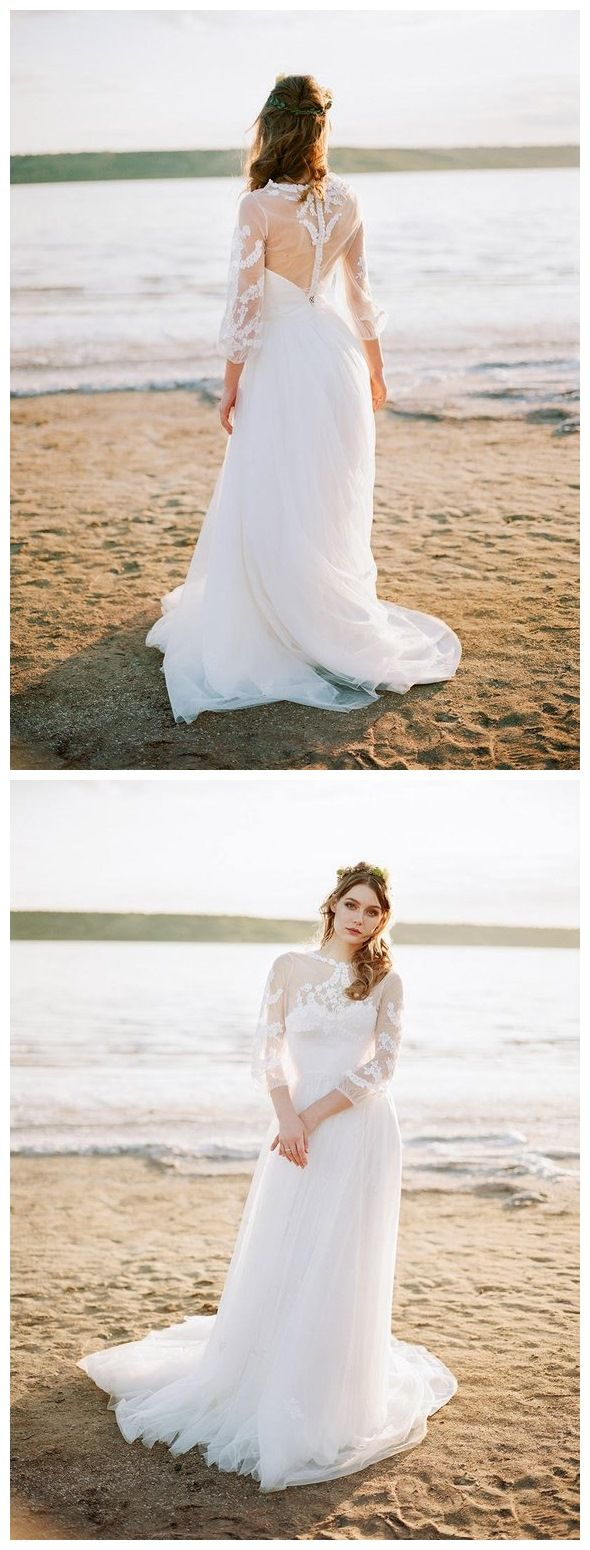 Cheap wedding dresses with sleeves  See Through Long Sleeve Beach Wedding Dresses Cheap Tulle Bridal