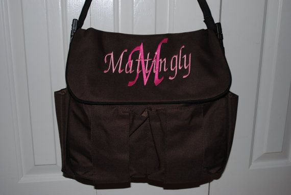 Personalized Embroidered Diaper Bag 3 Colors To Choose From Monogrammed Pink Brown Blue ...