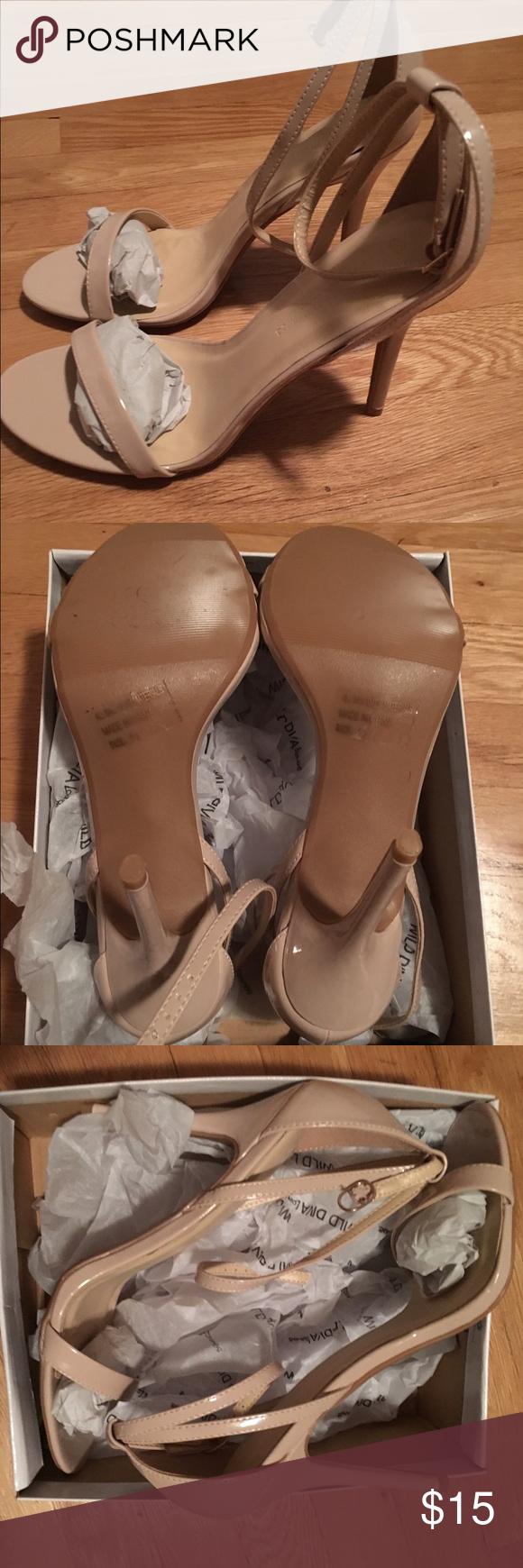 Wild Diva nude strap heel Brand new, never worn. Original box. Nude patent. Ankle strap Wild Diva Shoes Sandals