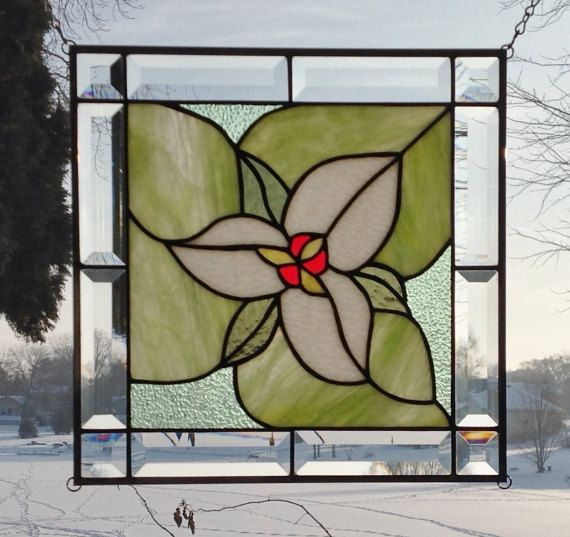 Beveled Stained Gl Window Panel White Trillium By Sghovel