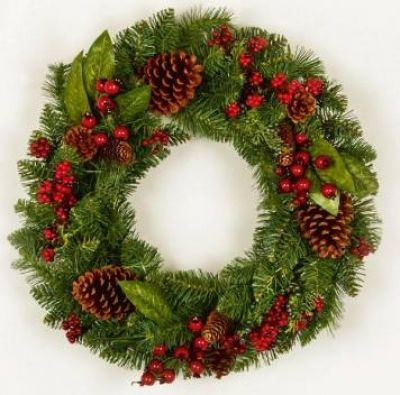 Premier 45cm Natural Pine Cone And Red Berry Christmas Wreath