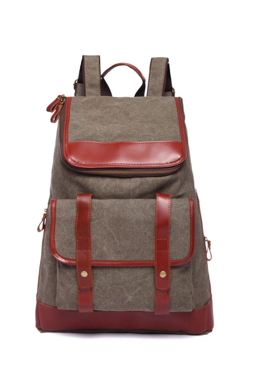 Betus Vintage Canvas Backpack Rucksack Schoolbag (ArmyGreen)