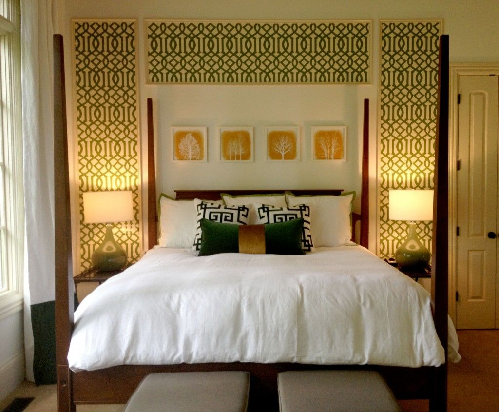 Emerald green bedroom. Front View. Paneled wallpaper wall