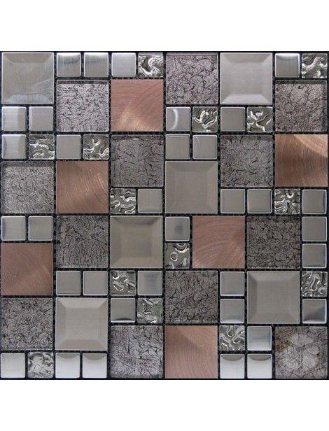 Kaos Silver Random Square Glass Metal And Marble Mesh Mounted Mosaic Tile Mosaic Wall Tiles Pattern Glass Mosaic Tiles