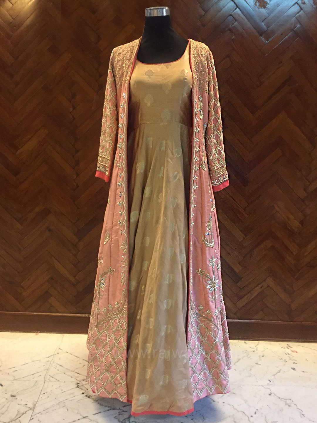 Golden Floor Length Gown with Raw Silk Long Jacket by Designer ...