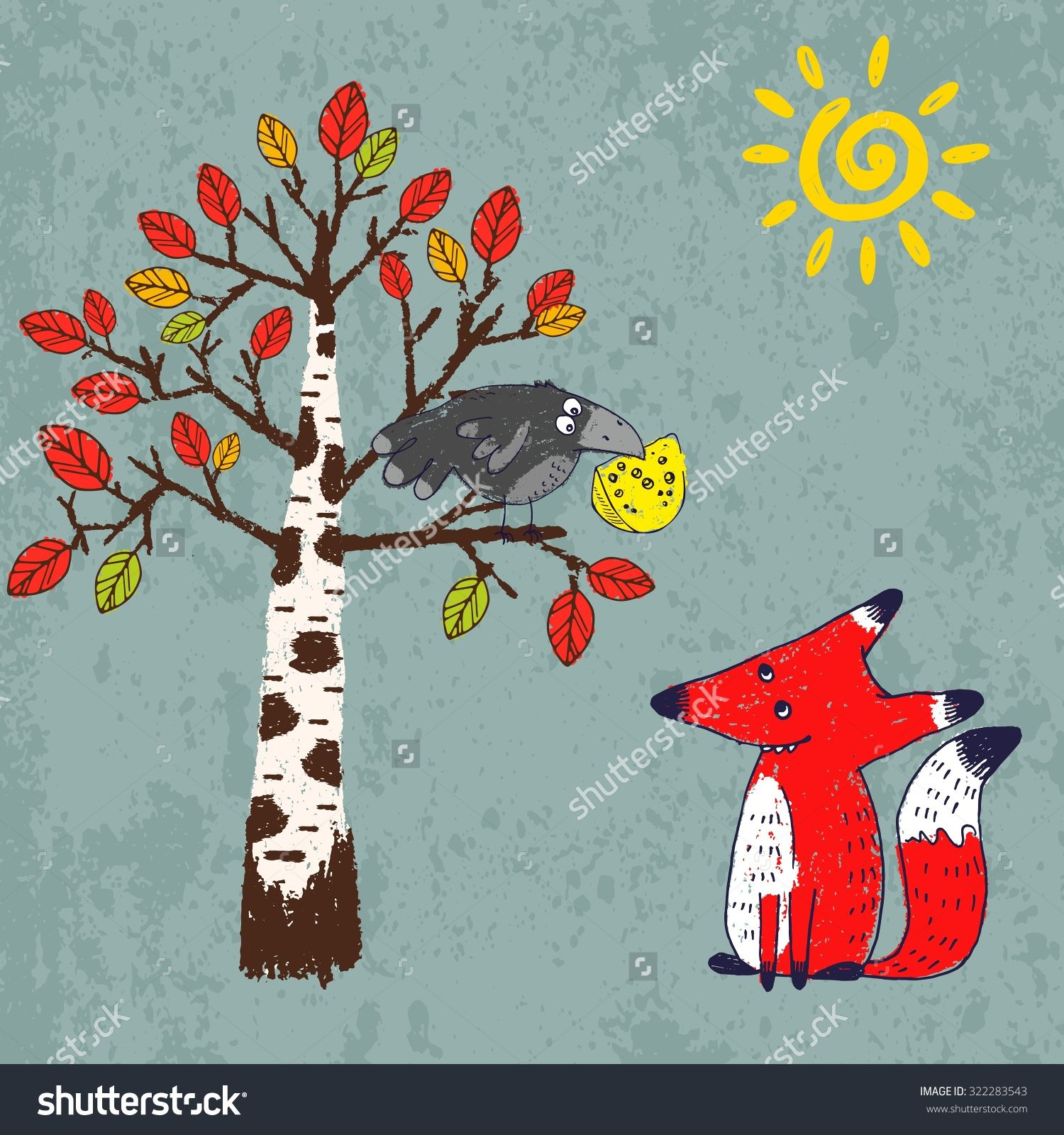 "Vector Illustration In Comic Style For Aesop'S Fable ""The Fox And The Crow"". Crayon Drawn Cartoon Picture Of Crafty Red Fox And Silly Black Crow With A Piece Of Cheese In Its Beak - 322283543 : Shutterstock"