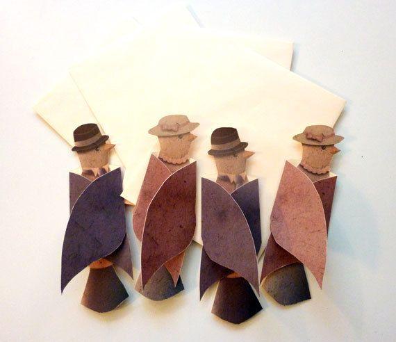 Card Set, Bird Cards, Retro Cards, Fold Out Cards, Little Birds, 2 Gentlemen, 2 Lady Birds & Envelopes. $16.00, via Etsy.