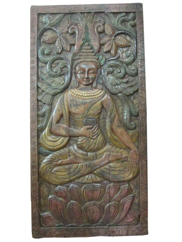 Antique India Door Panel Medicine Buddha Hand Carved Wall Panels Yoga Decor Yoga Decor Colorful Wall Hanging Carved Wood Wall Art
