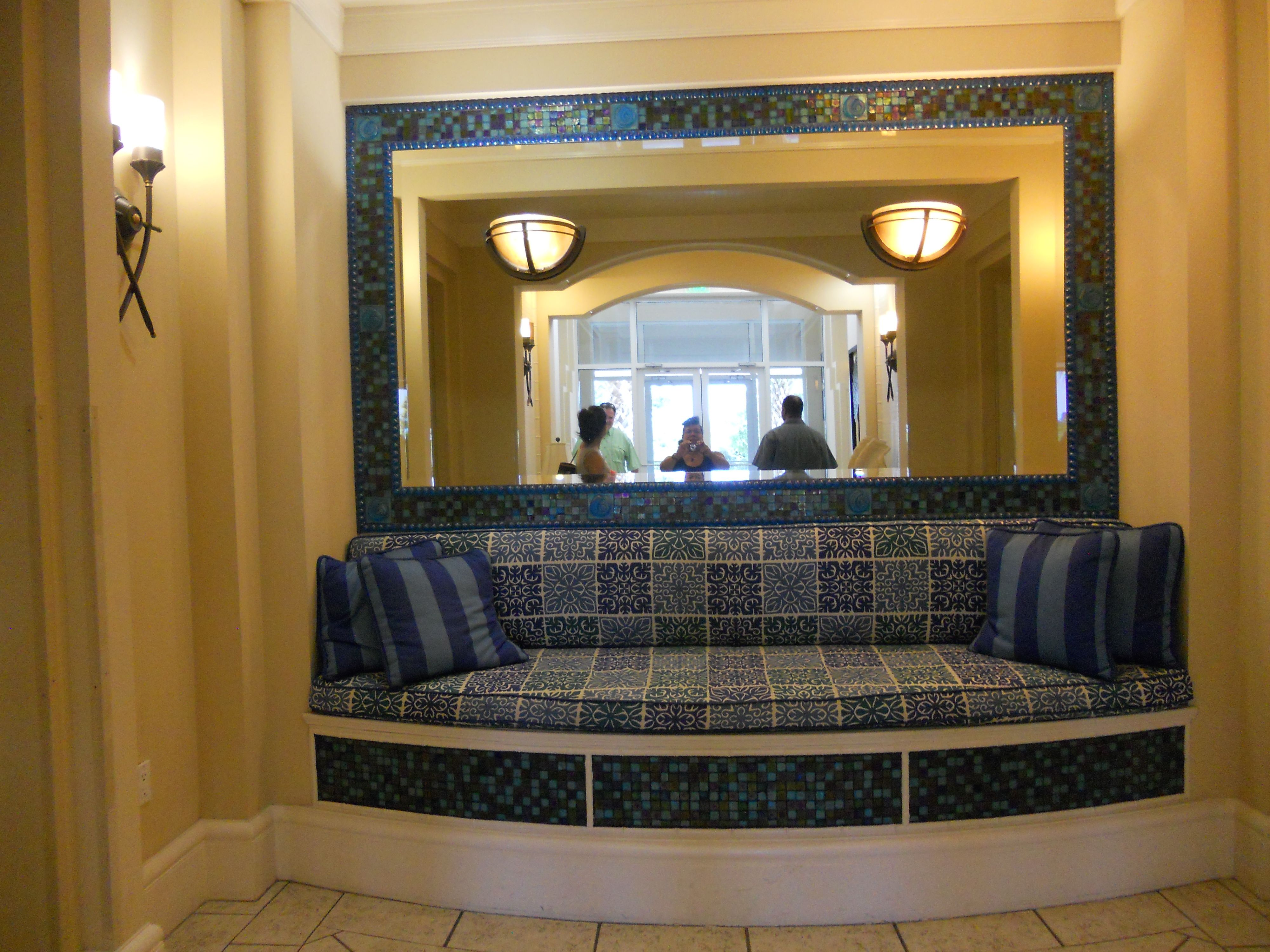 Great indoor porch benches or lobby seating areas. Great use of tiles