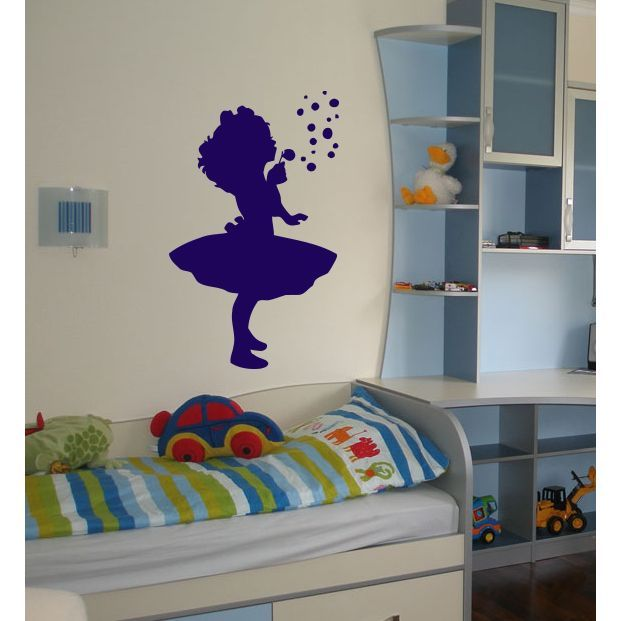Girl playing and blowing bubbles Wall Art Sticker Decal