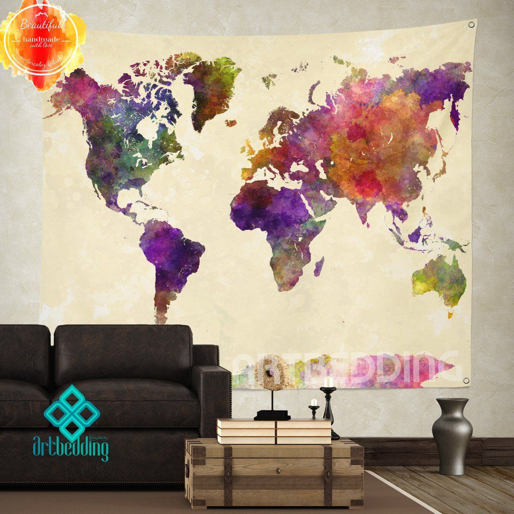 World Map Tapestry Wall Hanging boho tapestry, world map watercolor wall tapestry, modern
