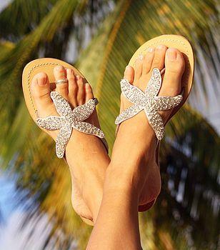 3b1d4f97b Gold Starfish Beaded Flat Leather Sandals