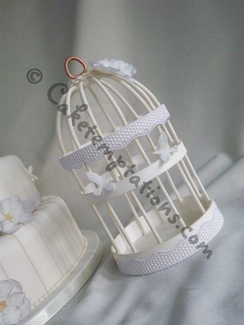 Handmade Edible Vintage Birdcage Wedding Cake Topper
