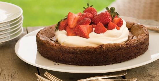 Flourless Chocolate Cake A decadent chocolate confection that's part cake and part fudge—a perfect dessert for Mother's Day.