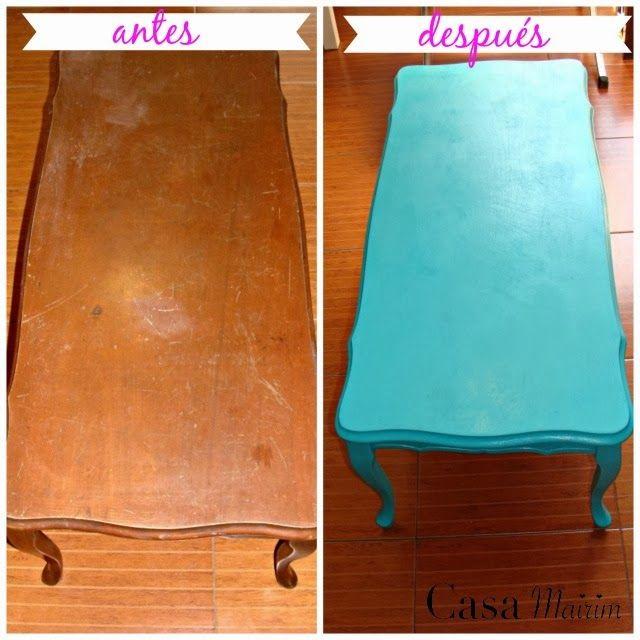 Antes y después de pintar la mesa de madera. before and after ...