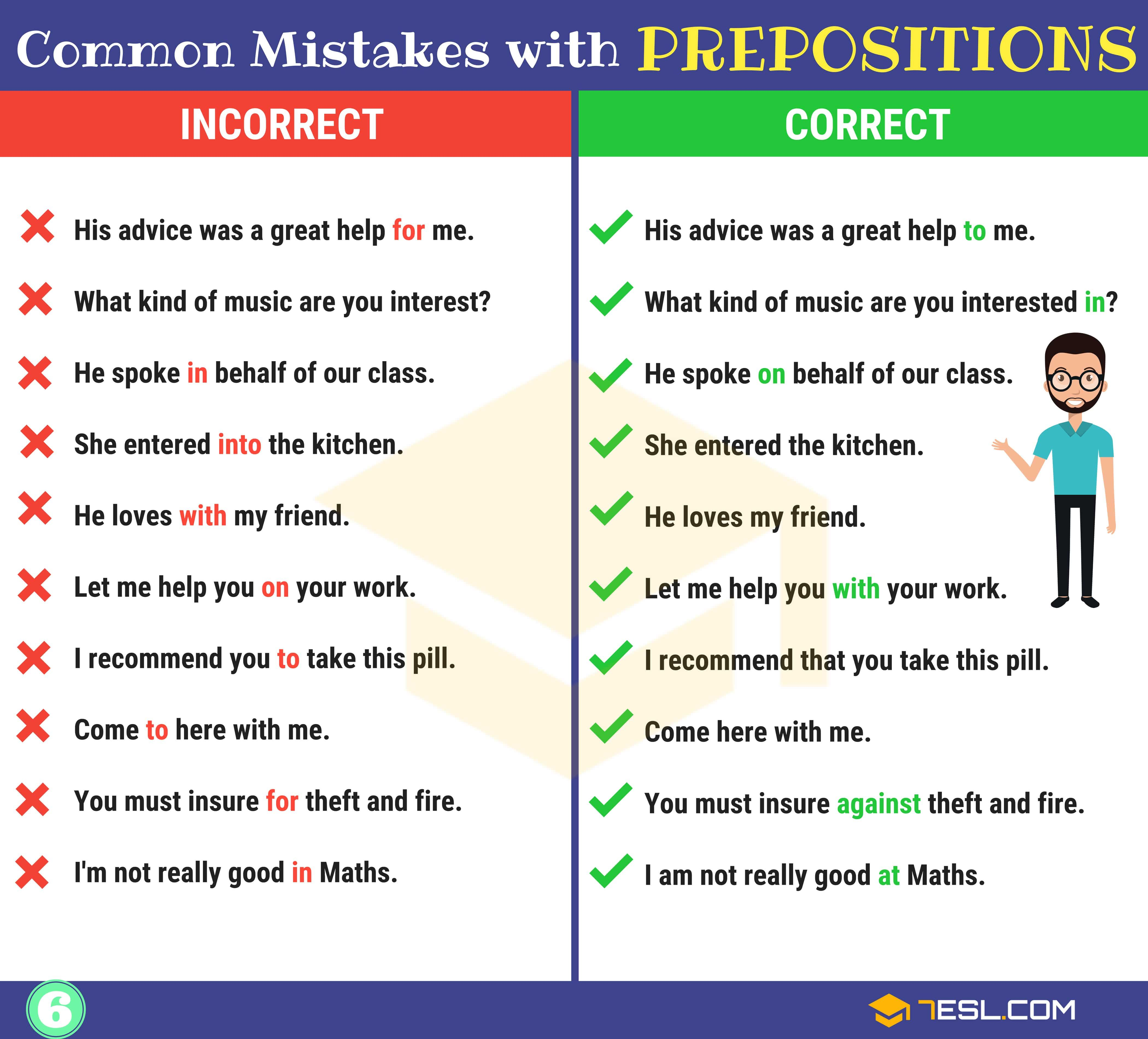 Preposition Errors 130 Common Mistakes With Prepositions 7esl Learn English English Prepositions Prepositions