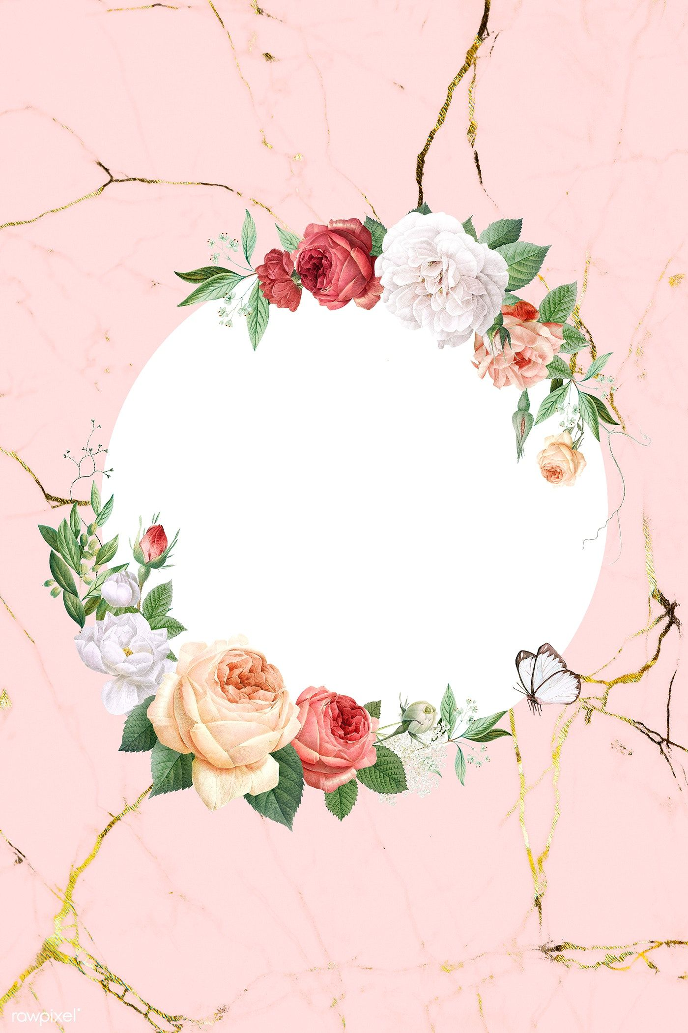 Floral Round Frame On A Marble Background Illustration Free Image By Rawpixel Com A Vintage Flowers Wallpaper Flower Background Wallpaper Rose Illustration