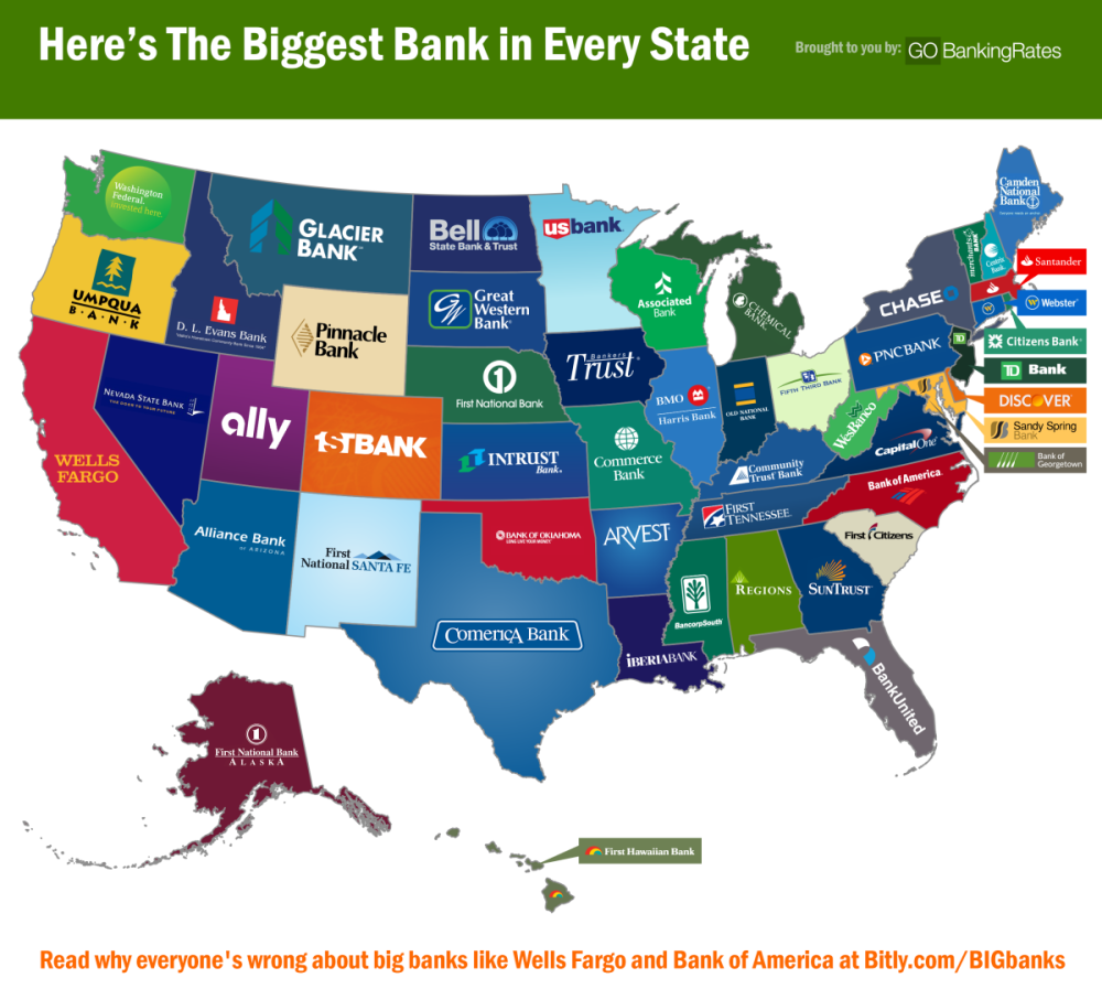 Here Is The Biggest Bank In Every State Banks - Bank of america us map locations