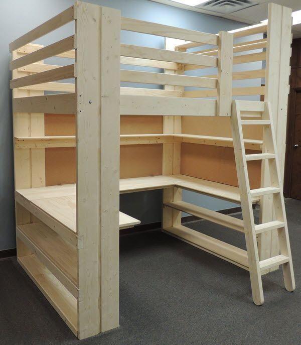 bedroom makeovers using loft beds by college bed lofts or the diy woodworker. Black Bedroom Furniture Sets. Home Design Ideas