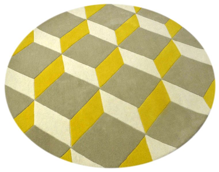 """A custom hand tufted pure wool rug in lemon yellow, signal white and hint of olive grey. It has a pile depth of 12-14mm. Created using the """"Playtime"""" design. #CustomRugRoom"""