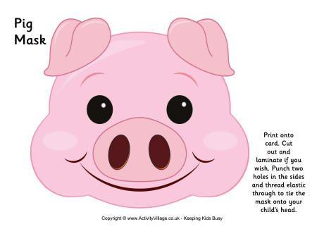 Pig mask Homemade Farm Animal Costumes Pinterest Pig mask - free printable face masks