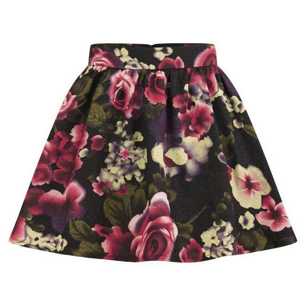 Girls On Film Women's Floral Skater Skirt - Pink ($27) ❤ liked on Polyvore featuring skirts, bottoms, saias, faldas, multi, pink skater skirt, pleated skirt, pink pleated skirt, floral circle skirt and flower skirt