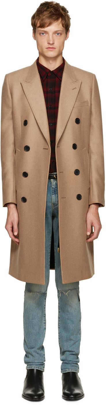 Saint Laurent Men's Tan Long Double-Breasted Coat
