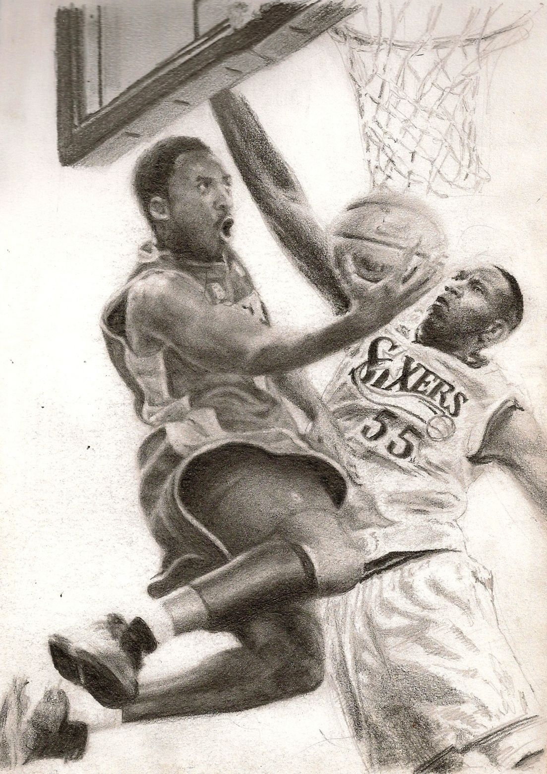 Kobe Bryant over Dikembe Mutombo - pencil on paper