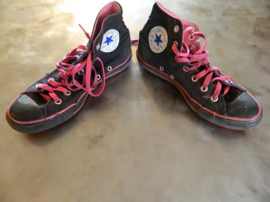 Black and Pink Women's Converse Size 8